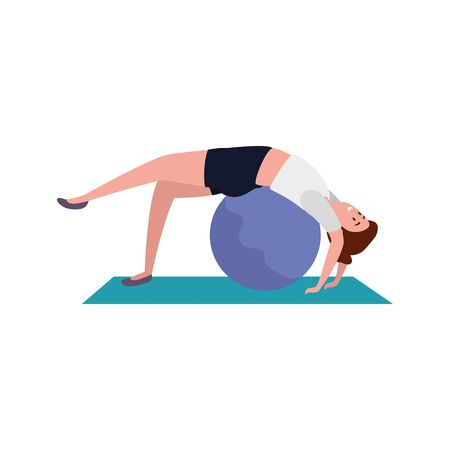 beauty woman practicing pilates with balloon in mattress vector illustration design  イラスト・ベクター素材