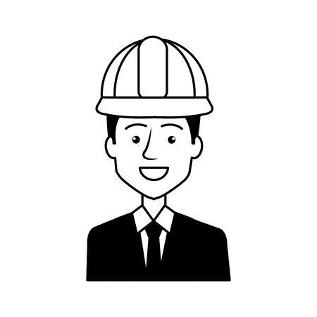 engineer with helmet avatar character vector illustration design