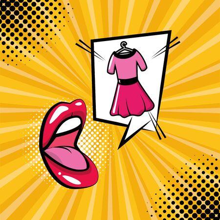 open mouth dress speech bubble sunburst background pop art vector illustration