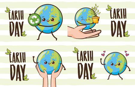 earth day card set planet cartoon vector illustration