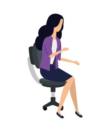 elegant young businesswoman seated in office chair vector illustration design