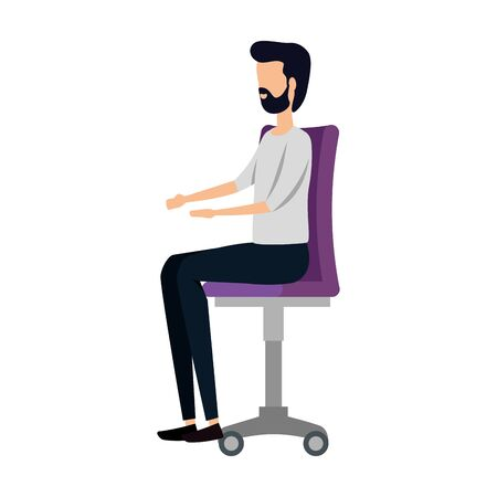elegant businessman worker seated in office chair vector illustration design  イラスト・ベクター素材