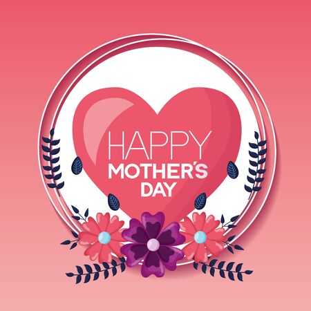 mothers day flowers heart love card vector illustration