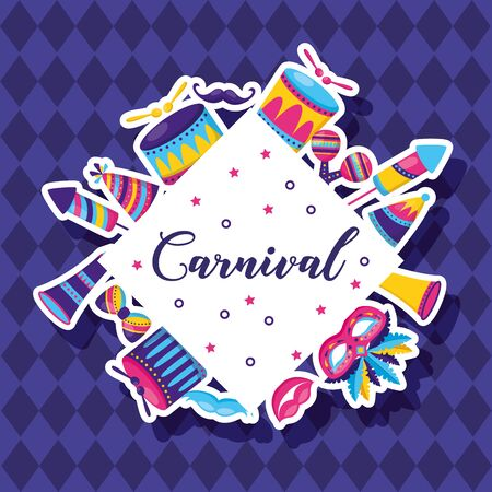 carnival festive celebration icons badge vector illustration design