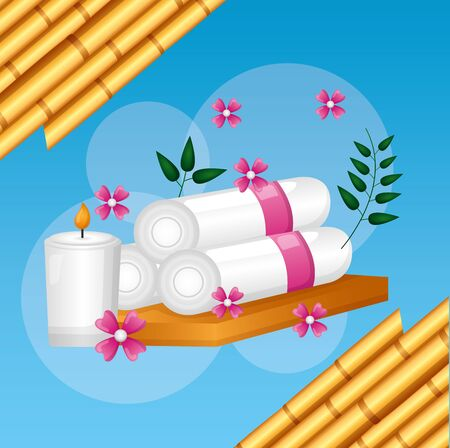 towels candles bamboo flowers spa treatment therapy vector illustration Banque d'images - 129490579