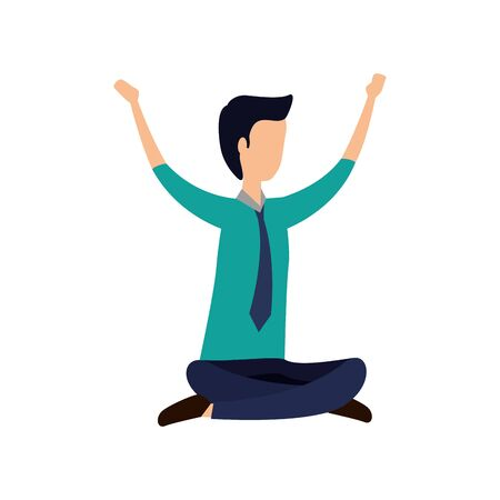 elegant businessman seated in lotus position vector illustration design