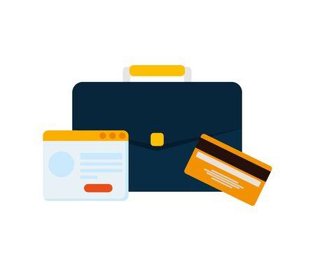 credit card money plastic with portfolio and calendar vector illustration design Illusztráció