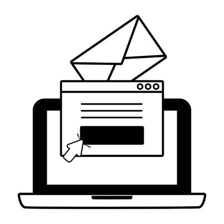 Ordinateur portable communication web envoyer un e-mail vector illustration Vecteurs