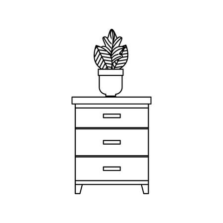 wooden drawer with houseplant icons vector illustration design 向量圖像