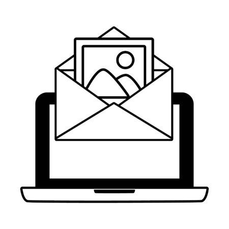 laptop computer envelope send email vector illustration