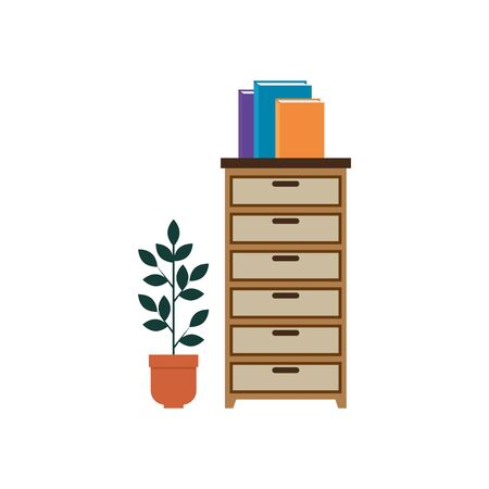 wooden drawer with books and houseplant vector illustration design Çizim