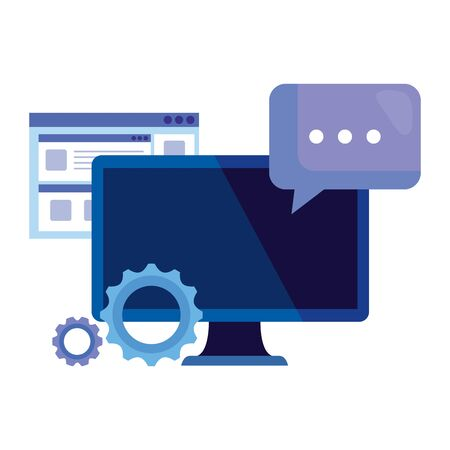 desktop computer with gears and speech bubble vector illustration design