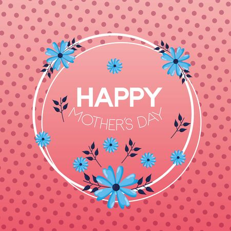 mothers day flowers badge decoration vector illustration Banque d'images - 132220280