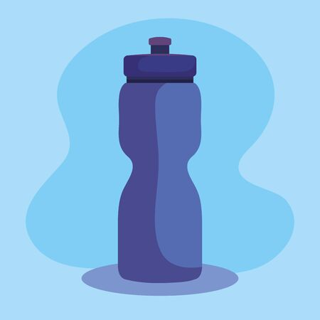 water bottle to healthy fitness lifestyle over blue background, vector illustration