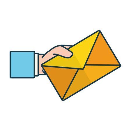 main tenant l'enveloppe envoyer un e-mail illustration vectorielle Vecteurs