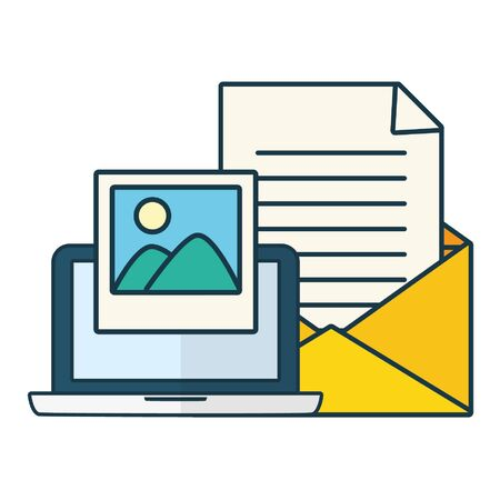 laptop picture and send email vector illustration