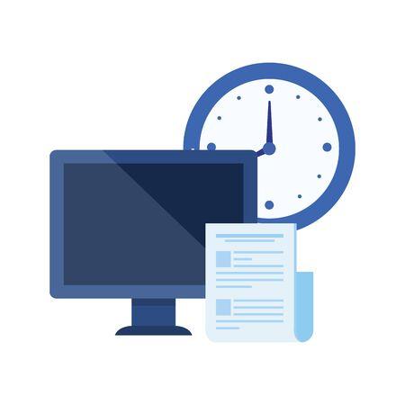 desktop computer with time clock vector illustration design Imagens - 129491869