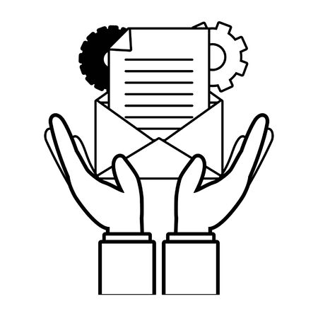 hands with envelope settings send email vector illustration  イラスト・ベクター素材