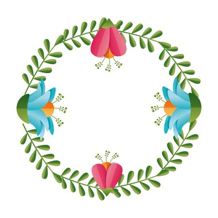 flowers wreath flora leaves decoration vector illustration design Standard-Bild - 129502075