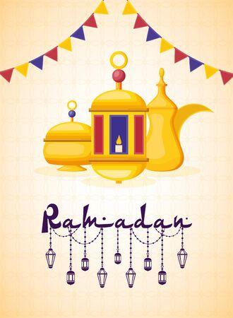lantern tea pot and candle ramadan kareem celebration vector illustration design