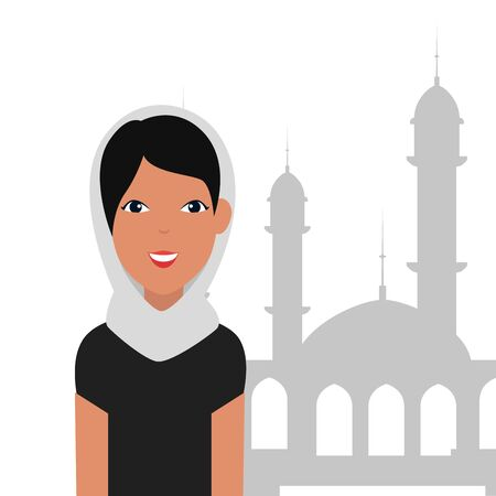 islamic woman with traditional burka and mosque building vector illustration design Banque d'images - 129502086