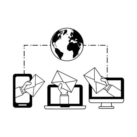 laptop computer smartphone connection world send email vector illustration