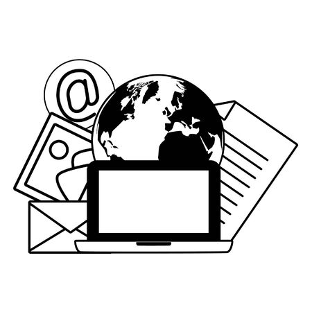 laptop computer world envelope picture document send email vector illustration