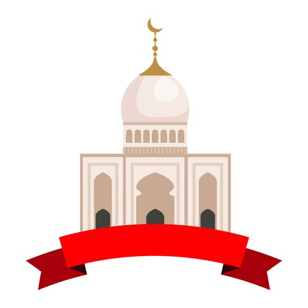 taj mahal mosque building with ribbon vector illustration design
