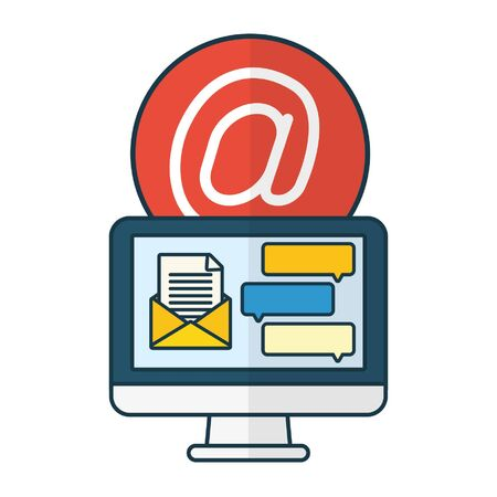computer mail website chat send email vector illustration