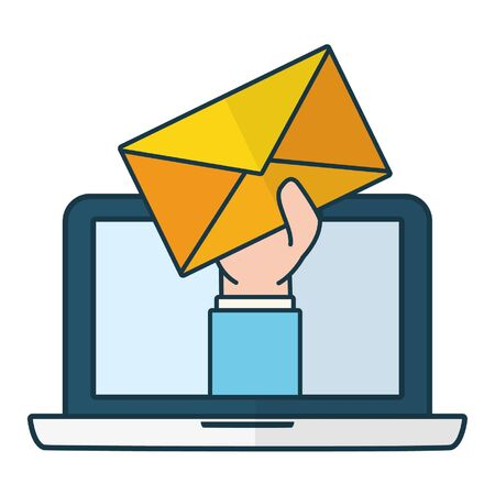 hand with envelope laptop send email vector illustration