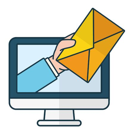 hand with envelope computer send email vector illustration