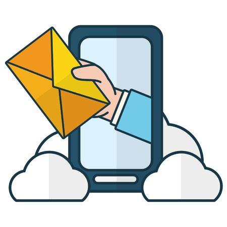 Mano con sobre smartphone computación en la nube enviar correo electrónico ilustración vectorial Ilustración de vector