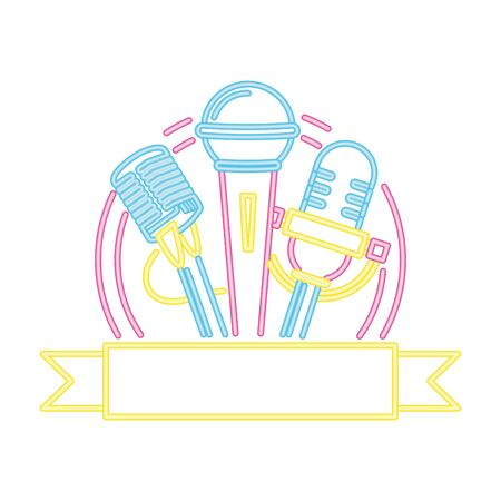 microphone sound retro neon style vector illustration