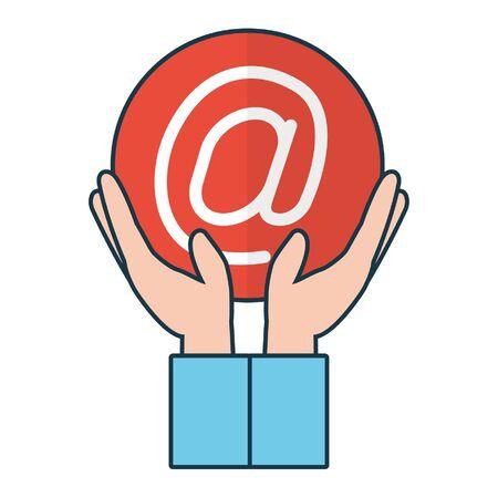 hands holding email symbol send vector illustration