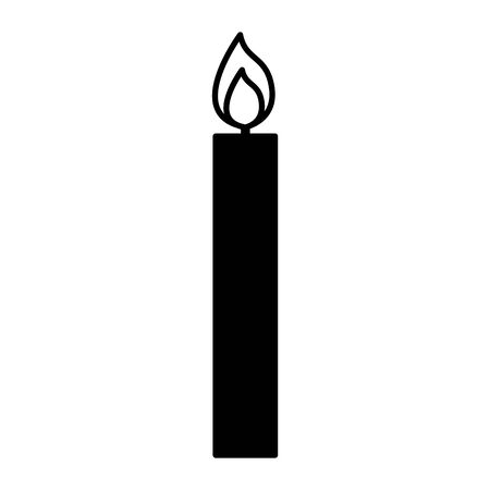 burning candle flame on white background vector illustration white and black