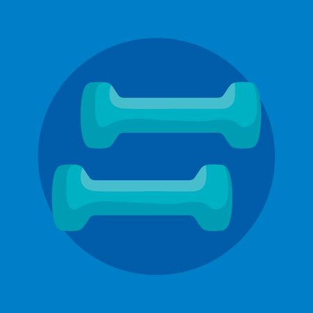 dumbbells activity over blue background to fitness lifestyle, vector illustration