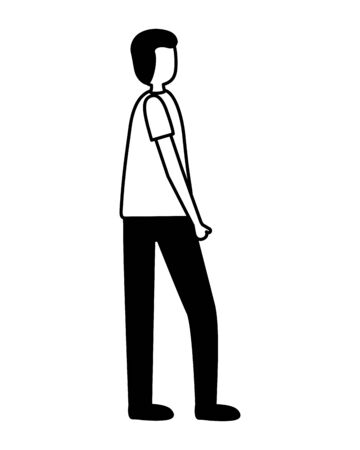 man standing activity outdoors on white background vector illustration