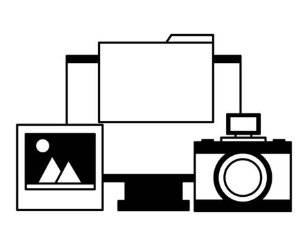 computer camera photo folder file vector illustration Illustration