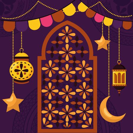lanterns garland ornament celebration eid mubarak vector illustration