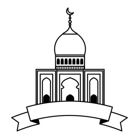 taj mahal mosque building with ribbon vector illustration design