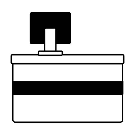 counter bar computer store on white background vector illustration