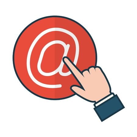 hand clicking send email button vector illustration