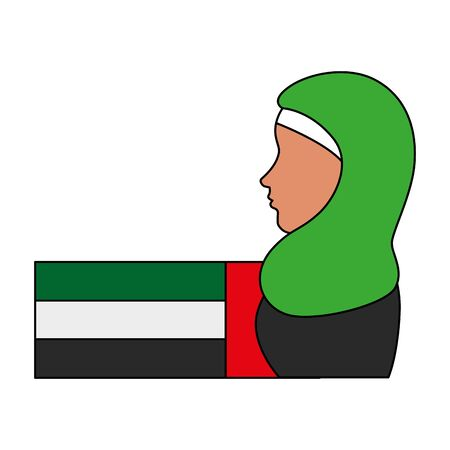 profile of islamic woman with traditional burka and arabia flag vector illustration design