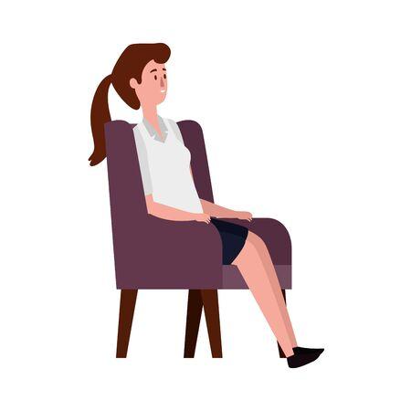 elegant businesswoman seated in sofa vector illustration design