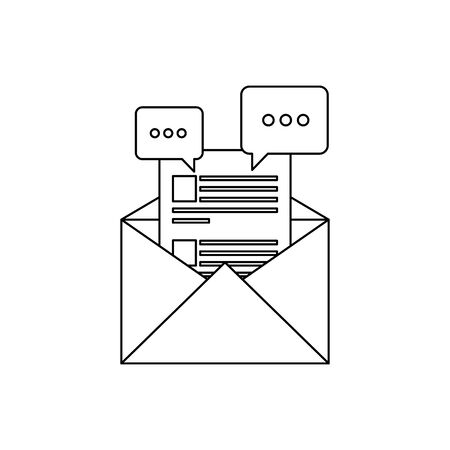 envelope mail post with speech bubbles vector illustration design