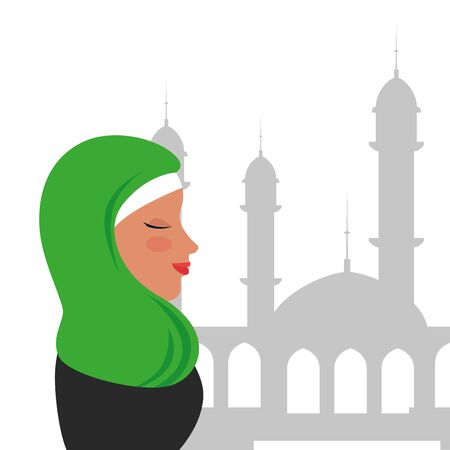 profile of islamic woman with traditional burka in mosque vector illustration design Banque d'images - 129501746