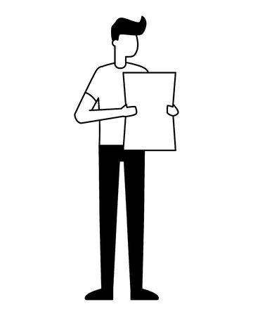 young man holding paper on white background vector illustration Stock Vector - 129492355