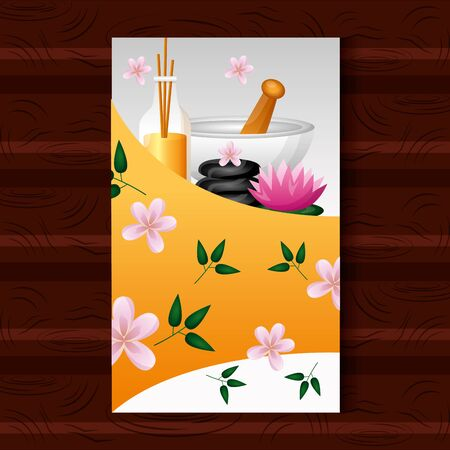 spa treatment therapy aroma sticks bowl stones lotus flower vector illustration Illustration
