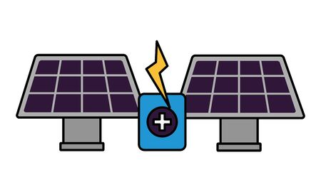 solar panels energy battery charge vector illustration Ilustracja