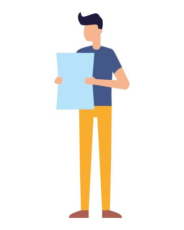 young man holding paper on white background vector illustration Illustration